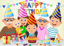Happy girl cartoon blowing birthday candles with his family Stock Photos