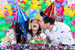 Happy girl celebrate birthday party at home Stock Images