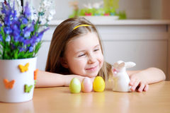 Happy girl celebrate Easter at home Stock Image