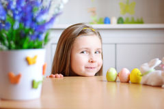 Happy girl celebrate Easter at home Royalty Free Stock Photo