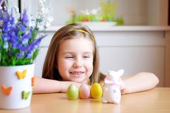 Happy girl celebrate Easter at home Stock Photo