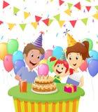 Happy girl celebrating birthday with family Royalty Free Stock Photo