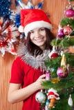 Happy girl celebrating new year Stock Images