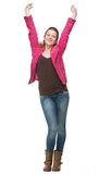 Happy Girl Celebrating with Two Hands in the Air Stock Image