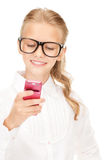 Happy girl with cell phone Stock Photo
