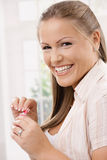 Happy girl with chewing gum Royalty Free Stock Photo
