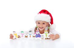 Happy girl with christmas decoration Stock Photo