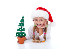 Happy girl with christmas decoration Stock Images