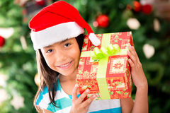Happy girl with a Christmas gift Stock Image