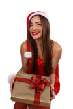 Happy girl with a Christmas gift Stock Photo