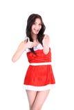 Happy girl with Christmas hat saying Stock Image