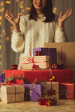 Happy girl with Christmas presents Stock Images