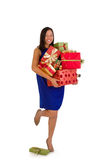 Happy girl christmas shopping royalty free stock image
