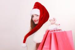 Happy girl on christmas shopping royalty free stock photo