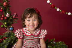 Happy Girl on Christmas, Winter Setup Royalty Free Stock Images