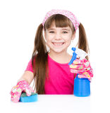 Happy girl cleans the house. isolated on white background Stock Images