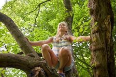 Happy girl climbing up tree in summer park Stock Photo