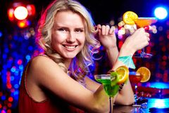 Happy girl with cocktail Royalty Free Stock Photos