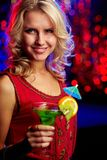 Happy girl with cocktail Royalty Free Stock Photography