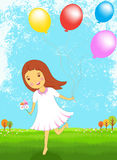 Happy girl with colorful balloon vector illustration Stock Image