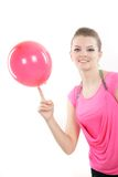 Happy girl with colorful balloons over Royalty Free Stock Photo