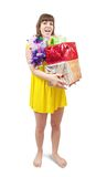 Happy girl with coloured   present boxes Stock Image