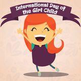International Day of the Girl Child, 11 October. Happy girl conceptual illustration Stock Photos