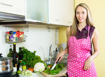 Happy girl cooking with vegetables. Cheerful young housewife cooking with vegetables at  kitchen Stock Image