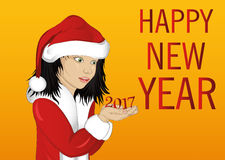 Happy girl in costume Santa Claus is holding in his hands. The figures 2017. Card for Christmas and New Year. Vector. Child portrait on a yellow background Royalty Free Stock Photos