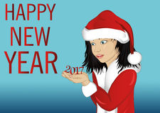 Happy girl in costume Santa Claus. Is holding in his hands the figures 2017. Card for Christmas and New Year. Vector. Child portrait on a blue background. Wow Stock Photo