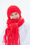 Happy girl in costumes snowman walking in winter forest, Royalty Free Stock Photo