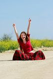 Happy girl on country road royalty free stock image
