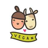 Happy girl and cow. Vegan hand drawn vector cartoon illustration vector illustration