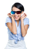 Happy girl in 3D glasses Royalty Free Stock Image