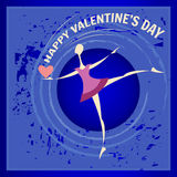 Happy girl dancing with a heart in his hand on Valentine`s Day. Blue background, color flat design. Royalty Free Stock Photo