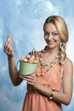 Happy girl with decorated eggs Stock Image