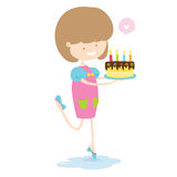 Happy Girl With Delicious Cake. Royalty Free Stock Image