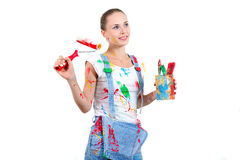 Happy girl with different tools Stock Photography