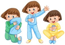 Happy Girl on Diffrent Pajamas. Illustration Royalty Free Stock Photos
