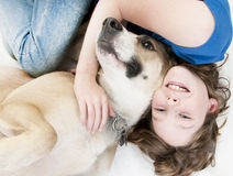 Happy girl with dog Stock Photo