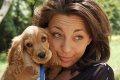 Happy girl with dog Stock Image