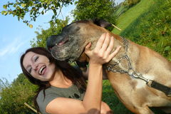 Happy girl and dog Royalty Free Stock Image