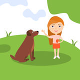 Happy girl with dog. Lady sitting playing and teaching her pet. Vector illustration. Stock Photos