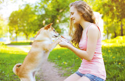 Happy girl and dog playing in summer sunny park Stock Images