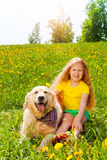 Happy girl and dog sitting on the grass Stock Photography
