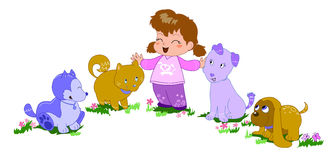 Happy girl with dogs-vector illustration. A happy smiling girl with four coloured dogs. Vector illustration royalty free illustration