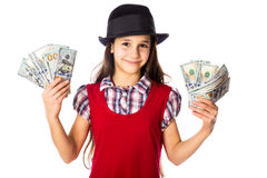 Happy girl with dollars in hands Stock Image