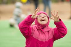 Happy girl with Down Syndrome. Happy girl  with Down Syndrome Royalty Free Stock Image