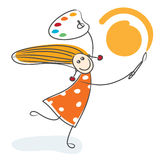 Happy girl drawing sun Royalty Free Stock Image