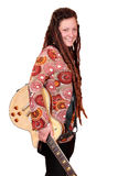 Happy girl with dreadlocks and electric guitar Stock Photography